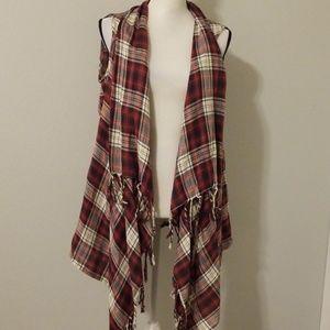 Vici's fringe flowy plaid vest